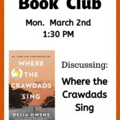 March Book Club – Mon 2nd @ 1:30